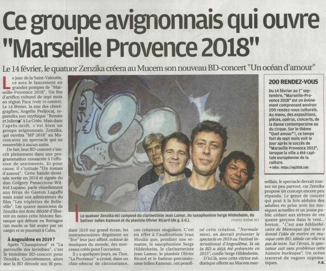 Article La Provence Janvier 2018